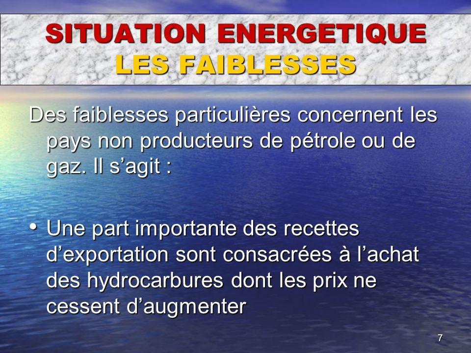 7 SITUATION ENERGETIQUE LES FAIBLESSES Des faiblesses particulières concernent les pays non producteurs de pétrole ou de gaz. Il sagit : Une part impo