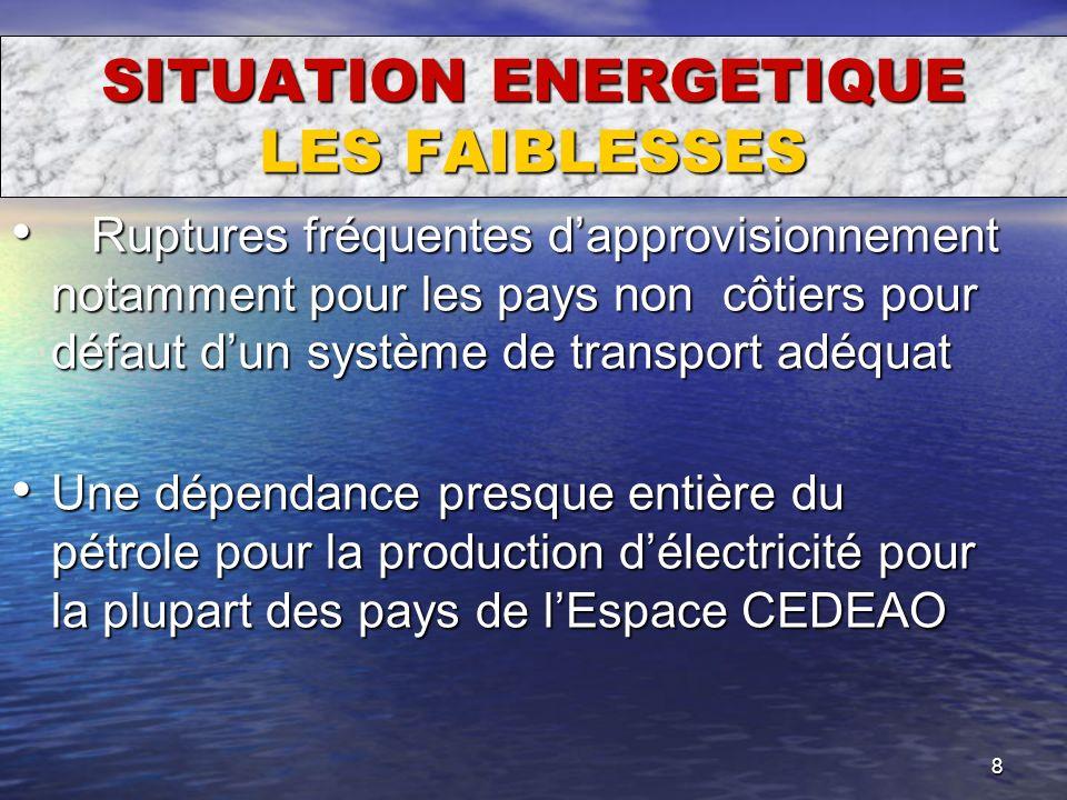 8 SITUATION ENERGETIQUE LES FAIBLESSES Ruptures fréquentes dapprovisionnement notamment pour les pays non côtiers pour défaut dun système de transport