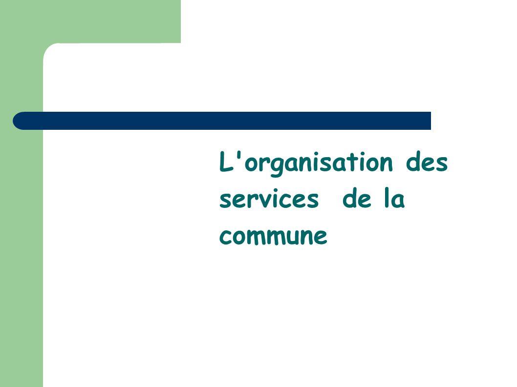 L organisation des services de la commune