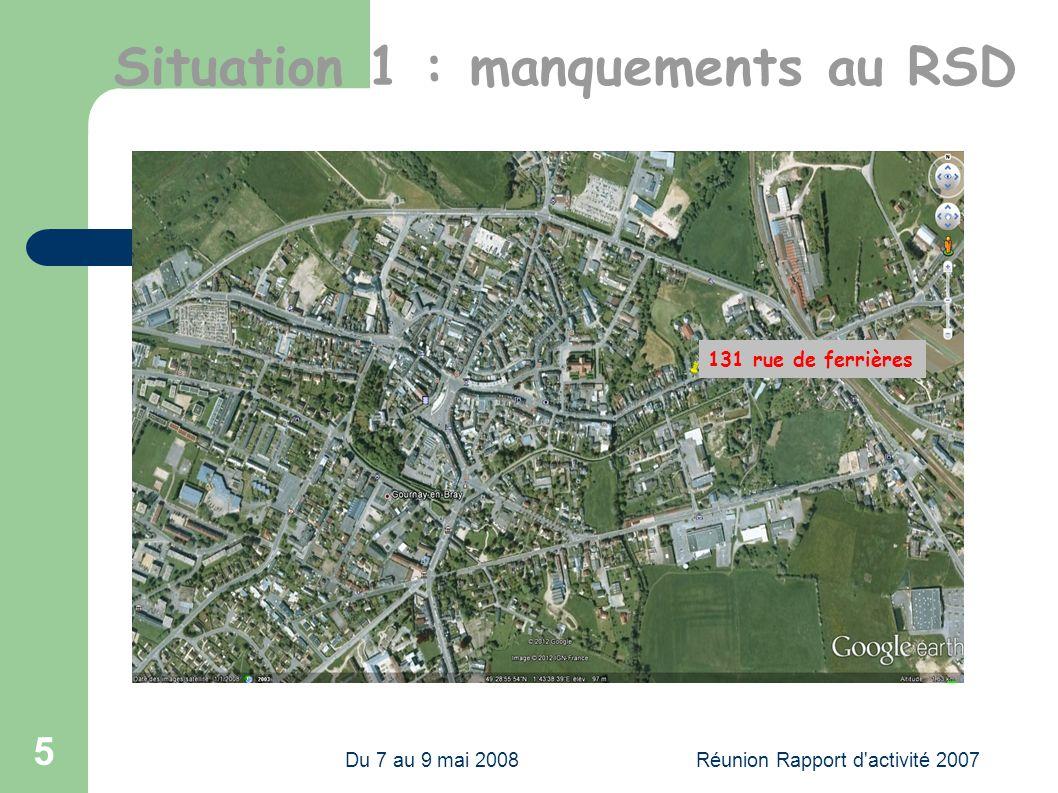 Du 7 au 9 mai 2008Réunion Rapport d activité 2007 5 131 rue de ferrières Situation 1 : manquements au RSD