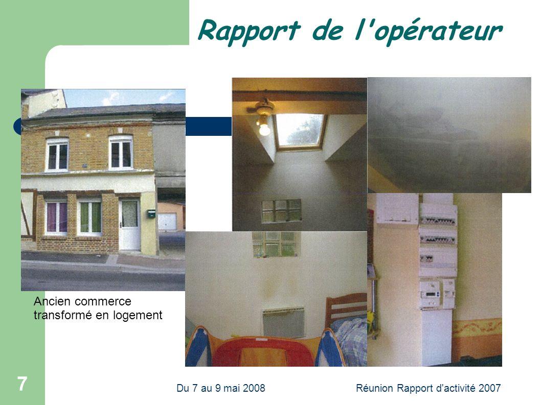 Du 7 au 9 mai 2008Réunion Rapport d activité 2007 7 Rapport de l opérateur Ancien commerce transformé en logement