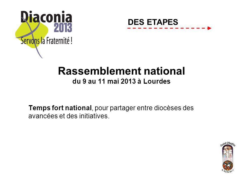 Rassemblement national du 9 au 11 mai 2013 à Lourdes Temps fort national, pour partager entre diocèses des avancées et des initiatives.