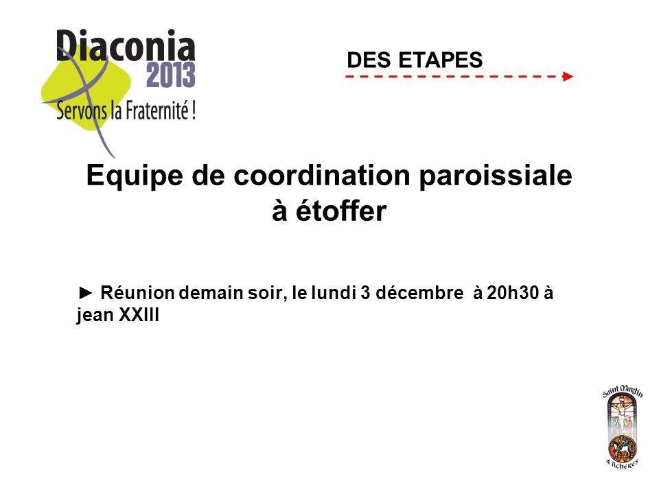 Equipe de coordination paroissiale à étoffer Réunion demain soir, le lundi 3 décembre à 20h30 à jean XXIII DES ETAPES