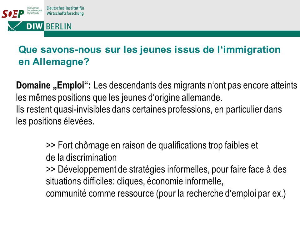 Domaine Emploi: Les descendants des migrants nont pas encore atteints les mêmes positions que les jeunes dorigine allemande.