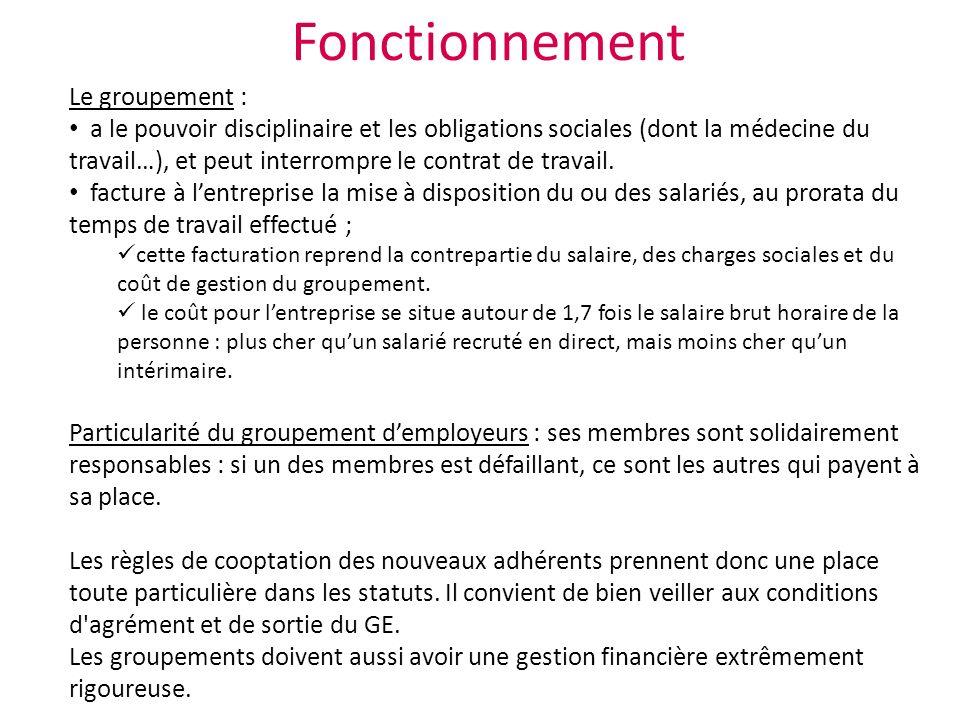 Le groupement : a le pouvoir disciplinaire et les obligations sociales (dont la médecine du travail…), et peut interrompre le contrat de travail.