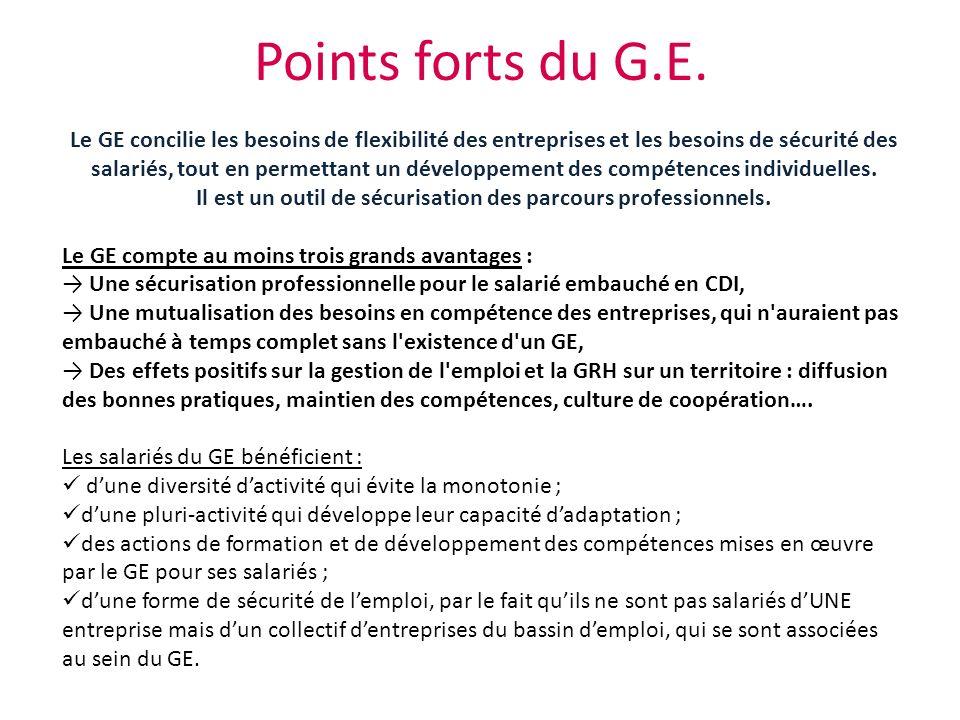 Points forts du G.E. Le GE concilie les besoins de flexibilité des entreprises et les besoins de sécurité des salariés, tout en permettant un développ