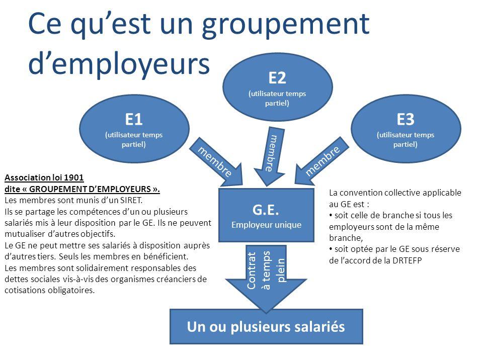 Ce quest un groupement demployeurs E1 (utilisateur temps partiel) E2 (utilisateur temps partiel) E3 (utilisateur temps partiel) G.E. Employeur unique