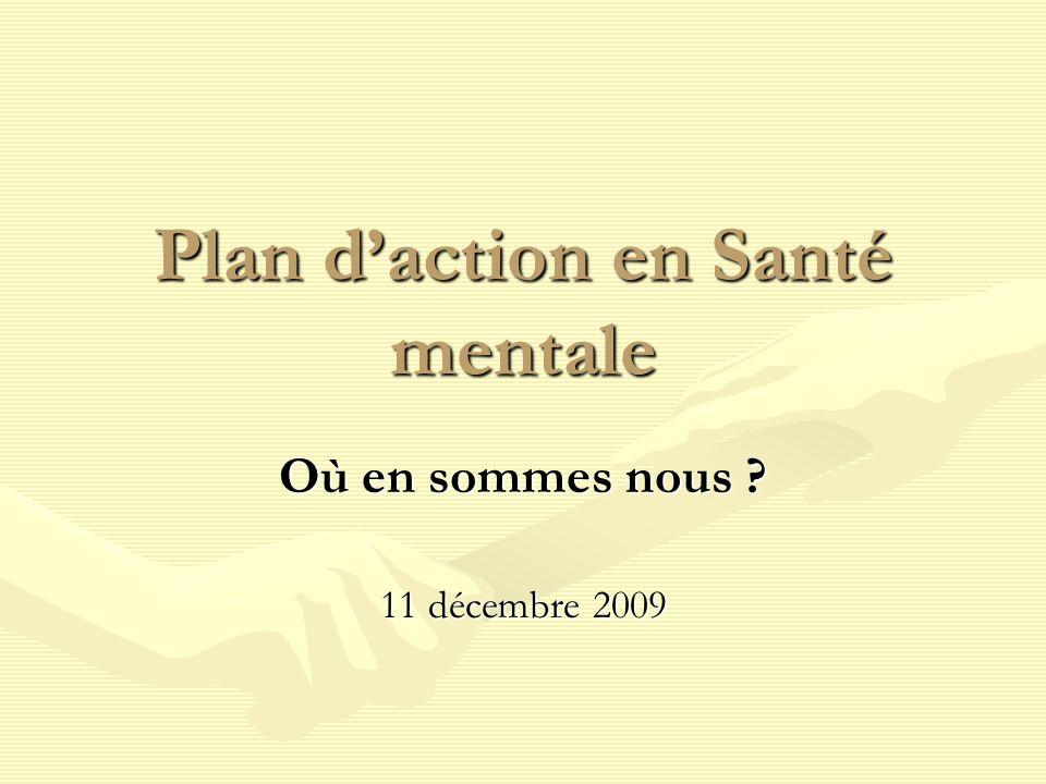Plan daction en Santé mentale Où en sommes nous ? 11 décembre 2009