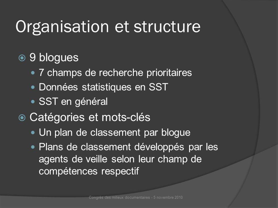 Organisation et structure 9 blogues 7 champs de recherche prioritaires Données statistiques en SST SST en général Catégories et mots-clés Un plan de c