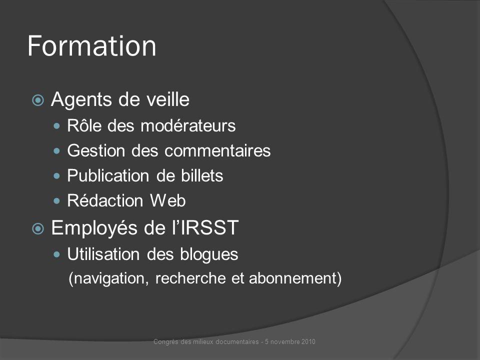 Formation Agents de veille Rôle des modérateurs Gestion des commentaires Publication de billets Rédaction Web Employés de lIRSST Utilisation des blogu
