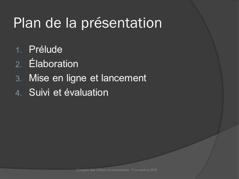 Plan de la présentation 1. Prélude 2. Élaboration 3. Mise en ligne et lancement 4. Suivi et évaluation Congrès des milieux documentaires - 5 novembre