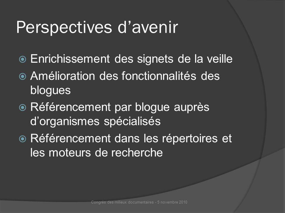 Perspectives davenir Enrichissement des signets de la veille Amélioration des fonctionnalités des blogues Référencement par blogue auprès dorganismes