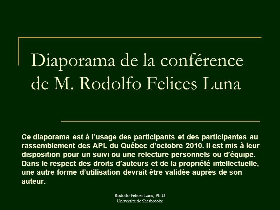 Rodolfo Felices Luna, Ph.D. Université de Sherbrooke Diaporama de la conférence de M. Rodolfo Felices Luna Ce diaporama est à lusage des participants