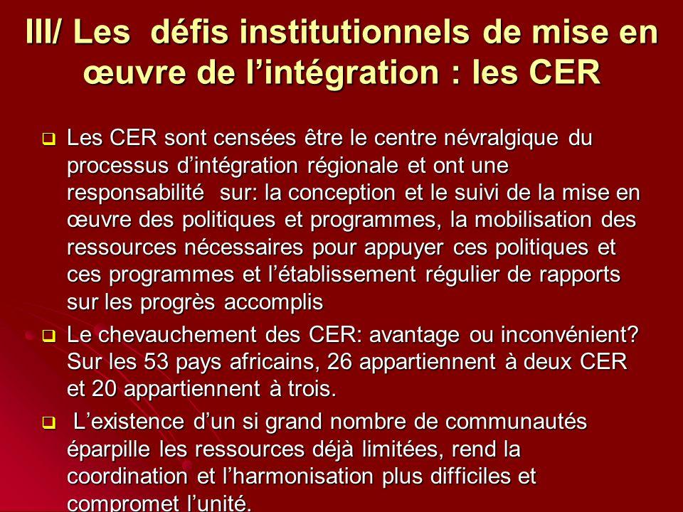 III/ Les défis institutionnels de mise en œuvre de lintégration : les CER Les CER sont censées être le centre névralgique du processus dintégration régionale et ont une responsabilité sur: la conception et le suivi de la mise en œuvre des politiques et programmes, la mobilisation des ressources nécessaires pour appuyer ces politiques et ces programmes et létablissement régulier de rapports sur les progrès accomplis Les CER sont censées être le centre névralgique du processus dintégration régionale et ont une responsabilité sur: la conception et le suivi de la mise en œuvre des politiques et programmes, la mobilisation des ressources nécessaires pour appuyer ces politiques et ces programmes et létablissement régulier de rapports sur les progrès accomplis Le chevauchement des CER: avantage ou inconvénient.