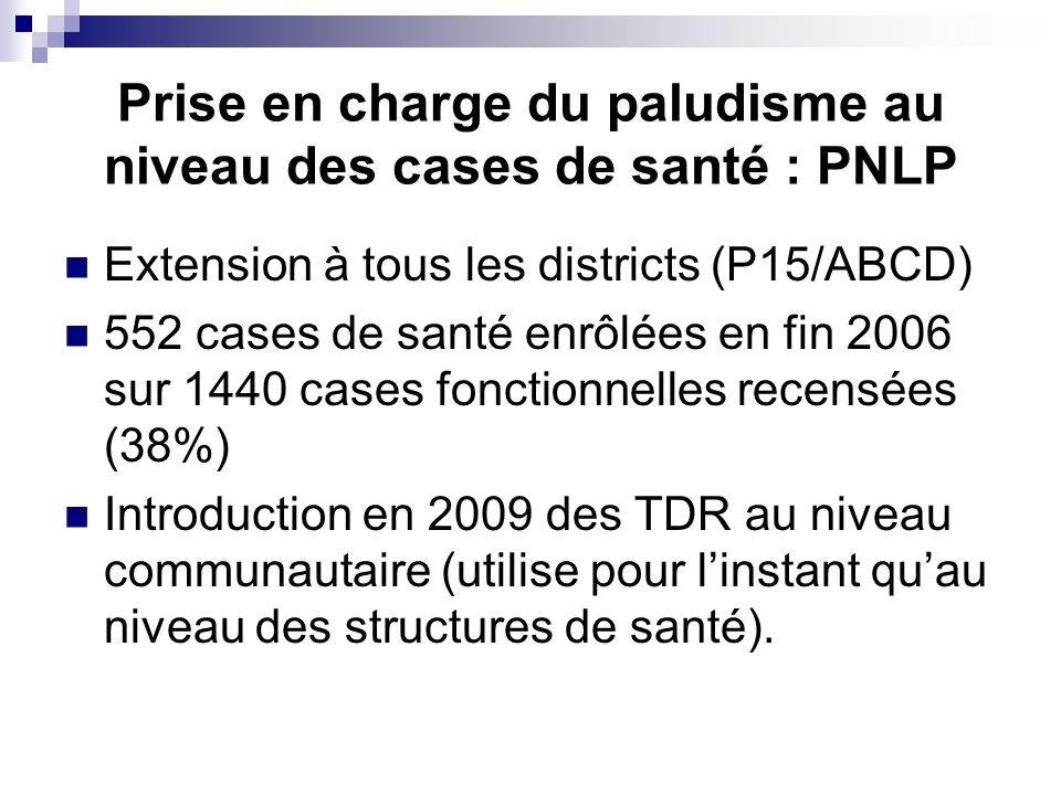 Prise en charge du paludisme au niveau des cases de santé : PNLP Extension à tous les districts (P15/ABCD) 552 cases de santé enrôlées en fin 2006 sur