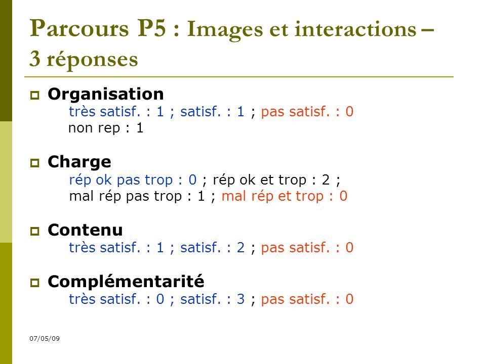 07/05/09 Parcours P5 : Images et interactions – 3 réponses Organisation très satisf.