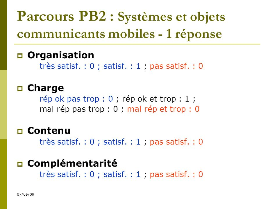 07/05/09 Parcours PB2 : Systèmes et objets communicants mobiles - 1 réponse Organisation très satisf.