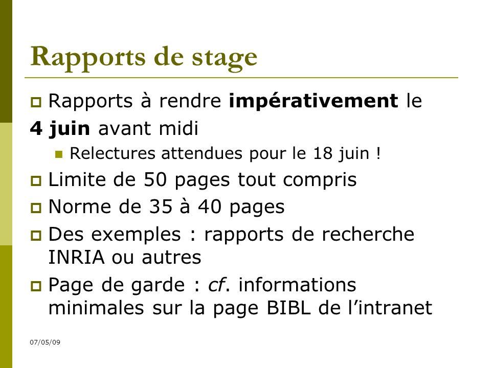07/05/09 Rapports de stage Rapports à rendre impérativement le 4 juin avant midi Relectures attendues pour le 18 juin .