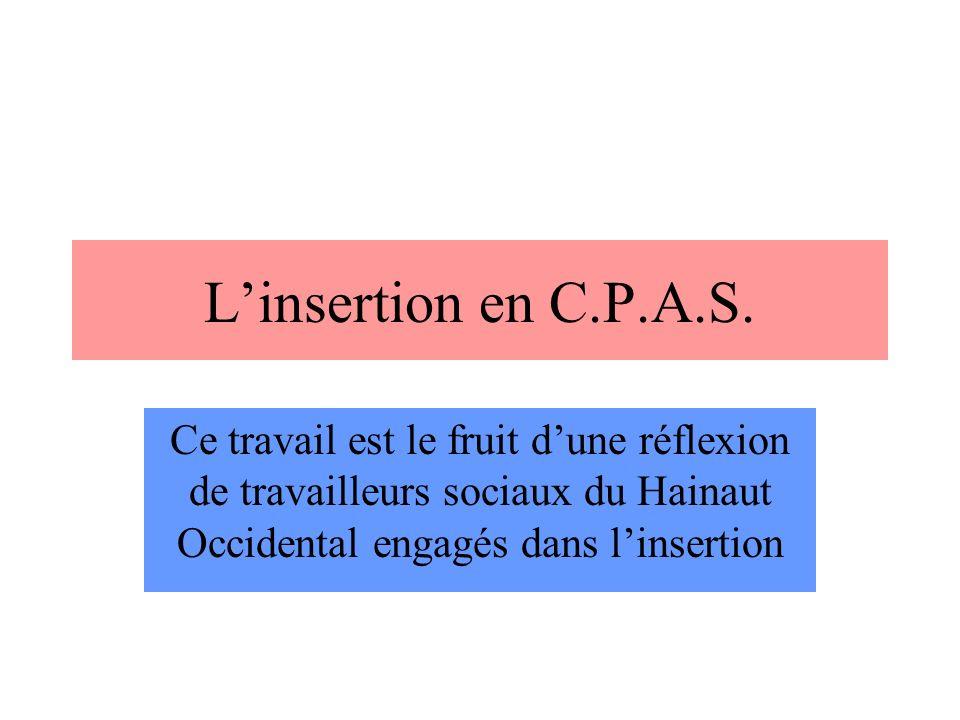 Linsertion en C.P.A.S.