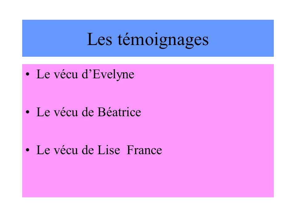 Les témoignages Le vécu dEvelyne Le vécu de Béatrice Le vécu de Lise France