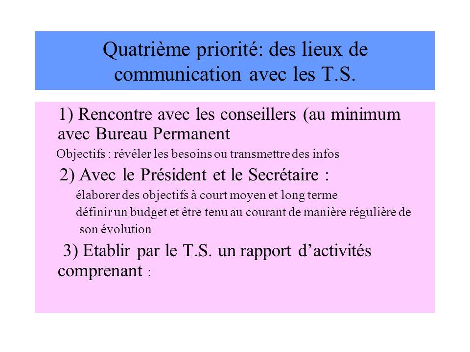 Quatrième priorité: des lieux de communication avec les T.S.