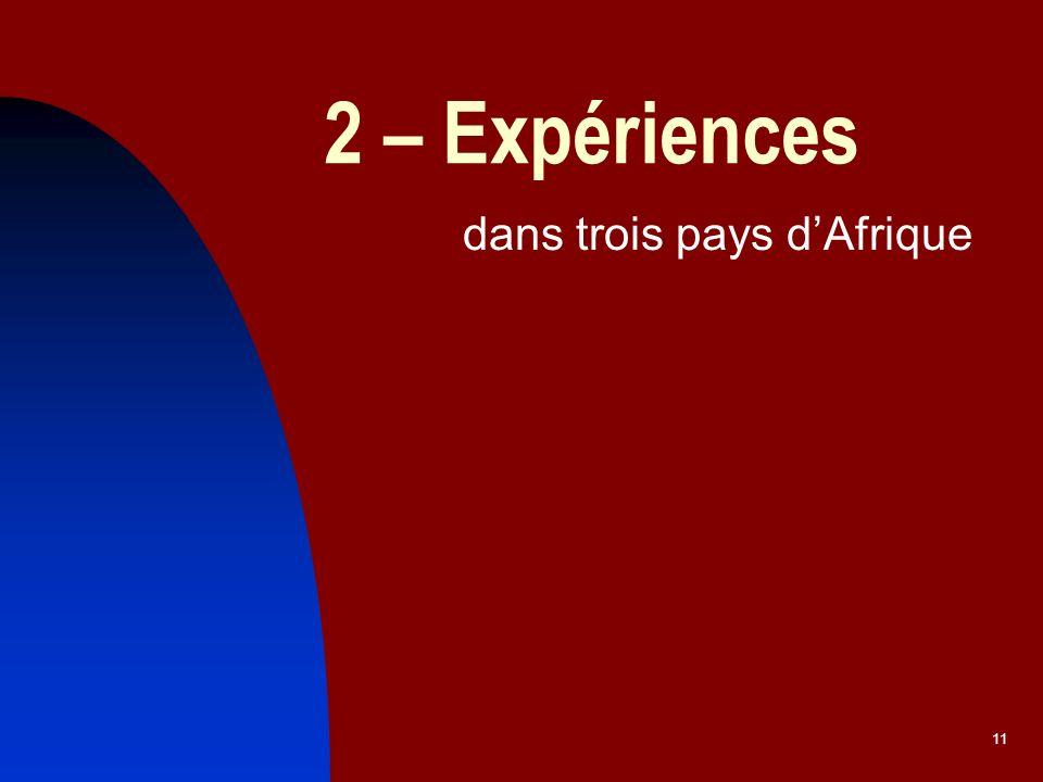 11 2 – Expériences dans trois pays dAfrique