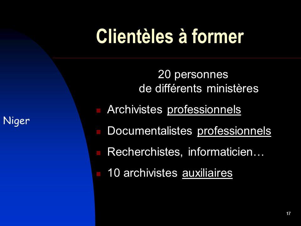 17 Clientèles à former 20 personnes de différents ministères Archivistes professionnels Documentalistes professionnels Recherchistes, informaticien… 10 archivistes auxiliaires Niger