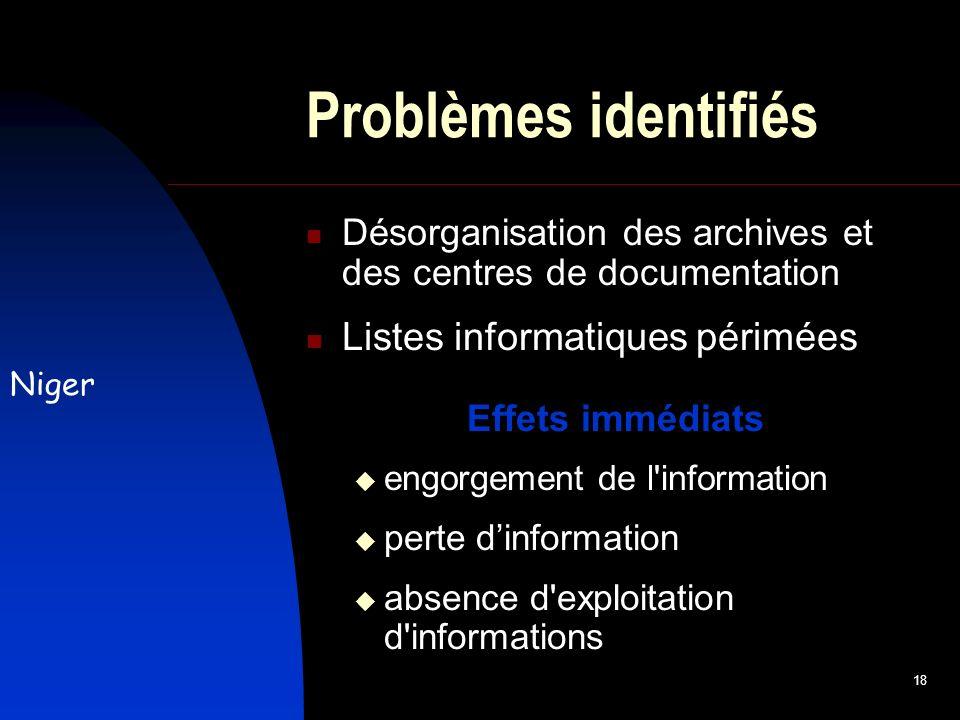 18 Problèmes identifiés Désorganisation des archives et des centres de documentation Listes informatiques périmées Effets immédiats engorgement de l information perte dinformation absence d exploitation d informations Niger