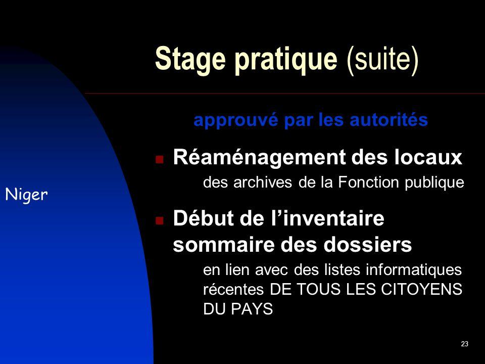 23 Stage pratique (suite) approuvé par les autorités Réaménagement des locaux des archives de la Fonction publique Début de linventaire sommaire des dossiers en lien avec des listes informatiques récentes DE TOUS LES CITOYENS DU PAYS Niger