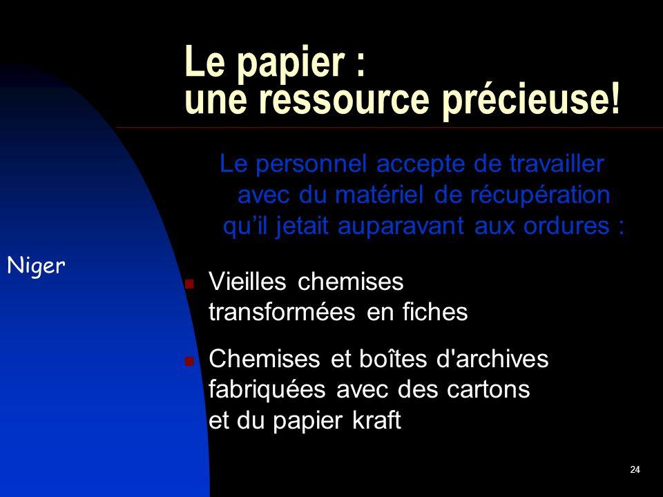 24 Le papier : une ressource précieuse.