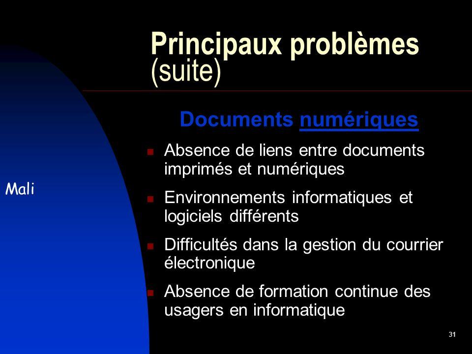 31 Principaux problèmes (suite) Documents numériques Absence de liens entre documents imprimés et numériques Environnements informatiques et logiciels différents Difficultés dans la gestion du courrier électronique Absence de formation continue des usagers en informatique Mali
