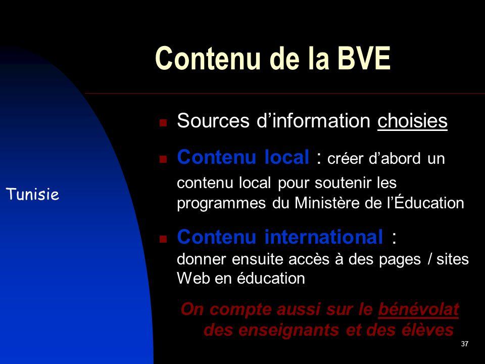 37 Contenu de la BVE Sources dinformation choisies Contenu local : créer dabord un contenu local pour soutenir les programmes du Ministère de lÉducation Contenu international : donner ensuite accès à des pages / sites Web en éducation On compte aussi sur le bénévolat des enseignants et des élèves Tunisie
