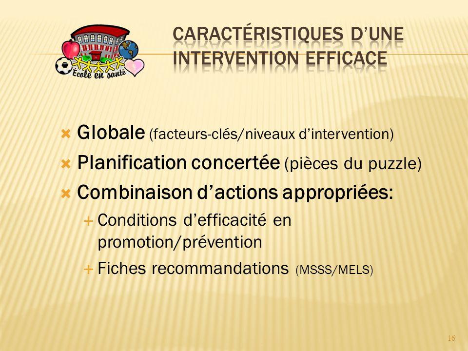 Globale (facteurs-clés/niveaux dintervention) Planification concertée (pièces du puzzle) Combinaison dactions appropriées: Conditions defficacité en promotion/prévention Fiches recommandations (MSSS/MELS) 16