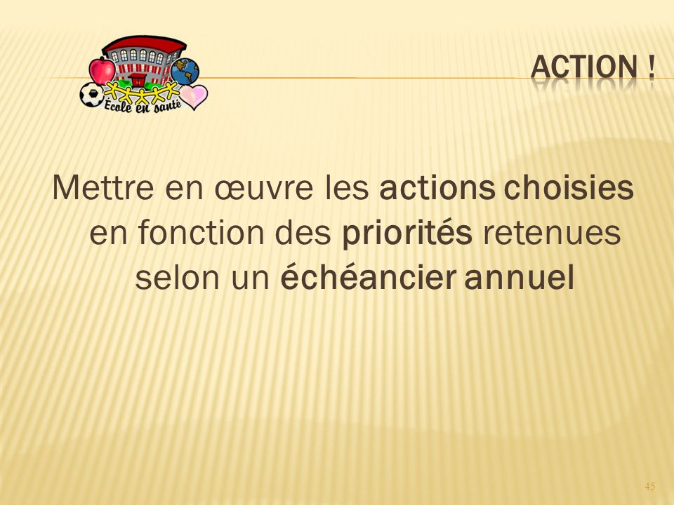 Mettre en œuvre les actions choisies en fonction des priorités retenues selon un échéancier annuel 45
