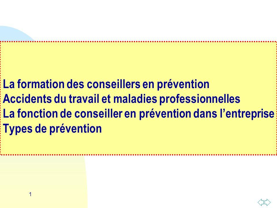 1 La formation des conseillers en prévention Accidents du travail et maladies professionnelles La fonction de conseiller en prévention dans lentreprise Types de prévention