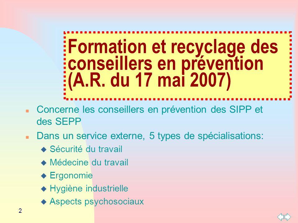 3 n Pour les services externes, les spécialisations en matière: u Dergonomie u Dhygiène industrielle u Daspects psychosociaux Sont définies dans lA.R.