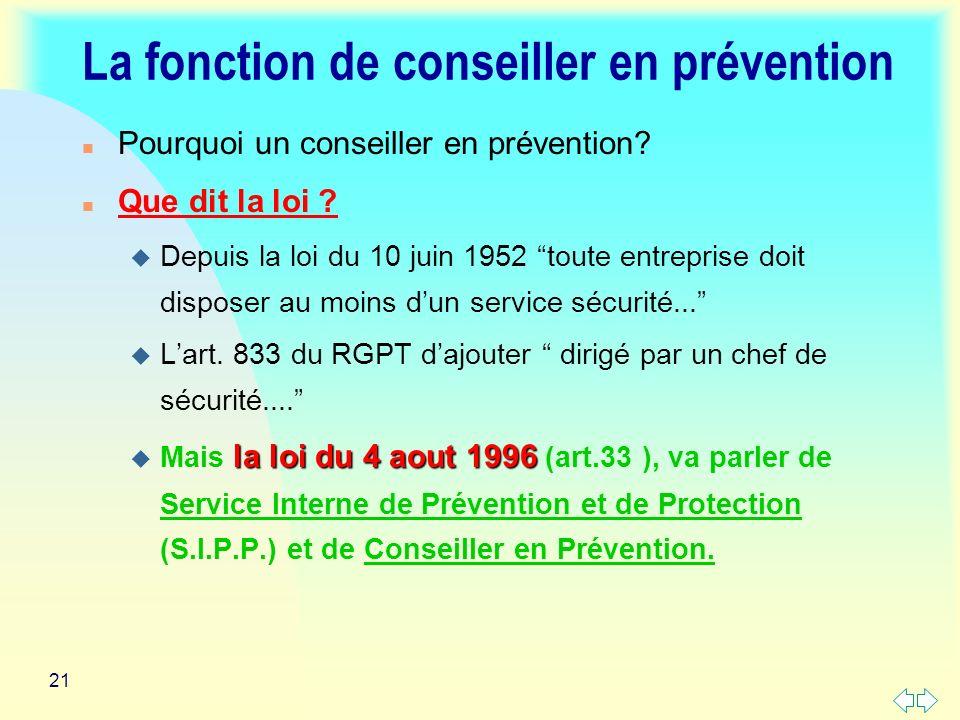 21 La fonction de conseiller en prévention n Pourquoi un conseiller en prévention.