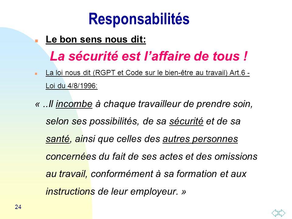 24 Responsabilités n Le bon sens nous dit: La sécurité est laffaire de tous .