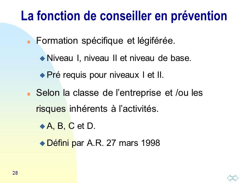 28 n Formation spécifique et légiférée.u Niveau I, niveau II et niveau de base.