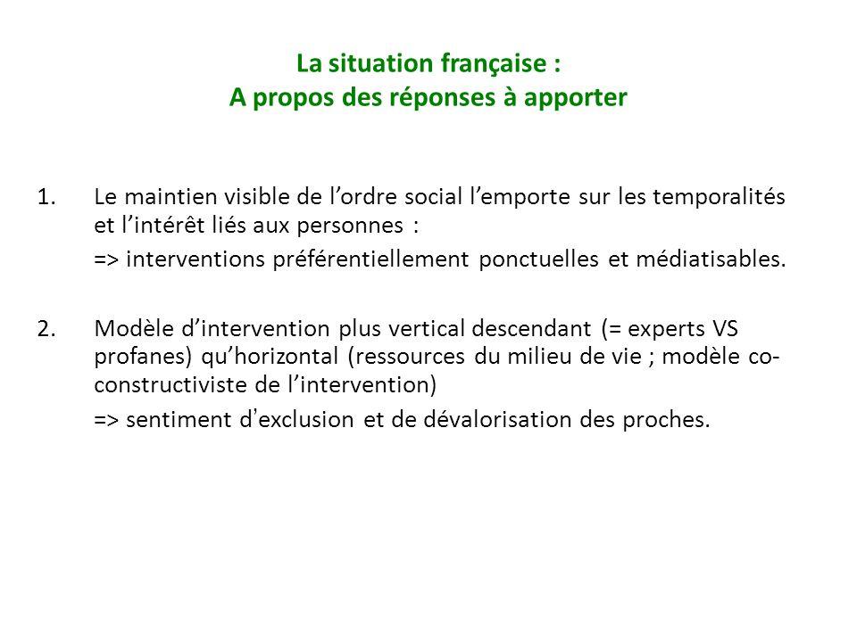 1.Le maintien visible de lordre social lemporte sur les temporalités et lintérêt liés aux personnes : => interventions préférentiellement ponctuelles