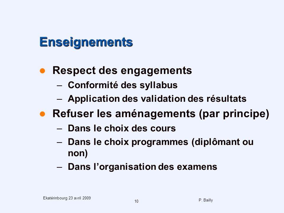 P. Bailly 10 Ekatérinbourg 23 avril 2009 Enseignements Respect des engagements –Conformité des syllabus –Application des validation des résultats Refu