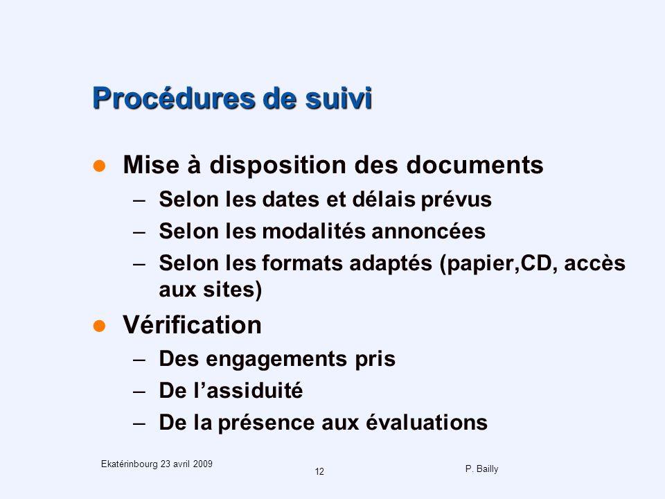 P. Bailly 12 Ekatérinbourg 23 avril 2009 Procédures de suivi Mise à disposition des documents –Selon les dates et délais prévus –Selon les modalités a