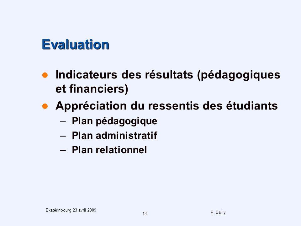 P. Bailly 13 Ekatérinbourg 23 avril 2009 Evaluation Indicateurs des résultats (pédagogiques et financiers) Appréciation du ressentis des étudiants –Pl