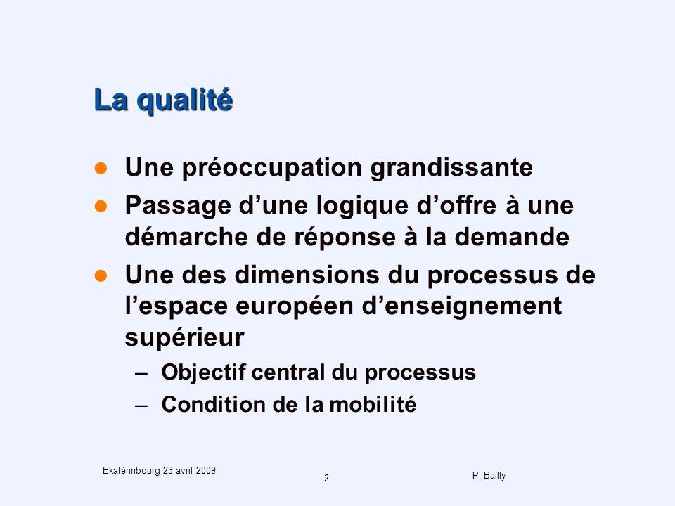 P. Bailly 2 Ekatérinbourg 23 avril 2009 La qualité Une préoccupation grandissante Passage dune logique doffre à une démarche de réponse à la demande U