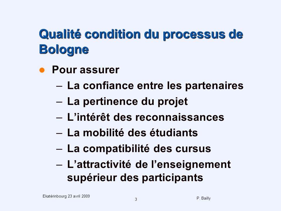 P. Bailly 3 Ekatérinbourg 23 avril 2009 Qualité condition du processus de Bologne Pour assurer –La confiance entre les partenaires –La pertinence du p