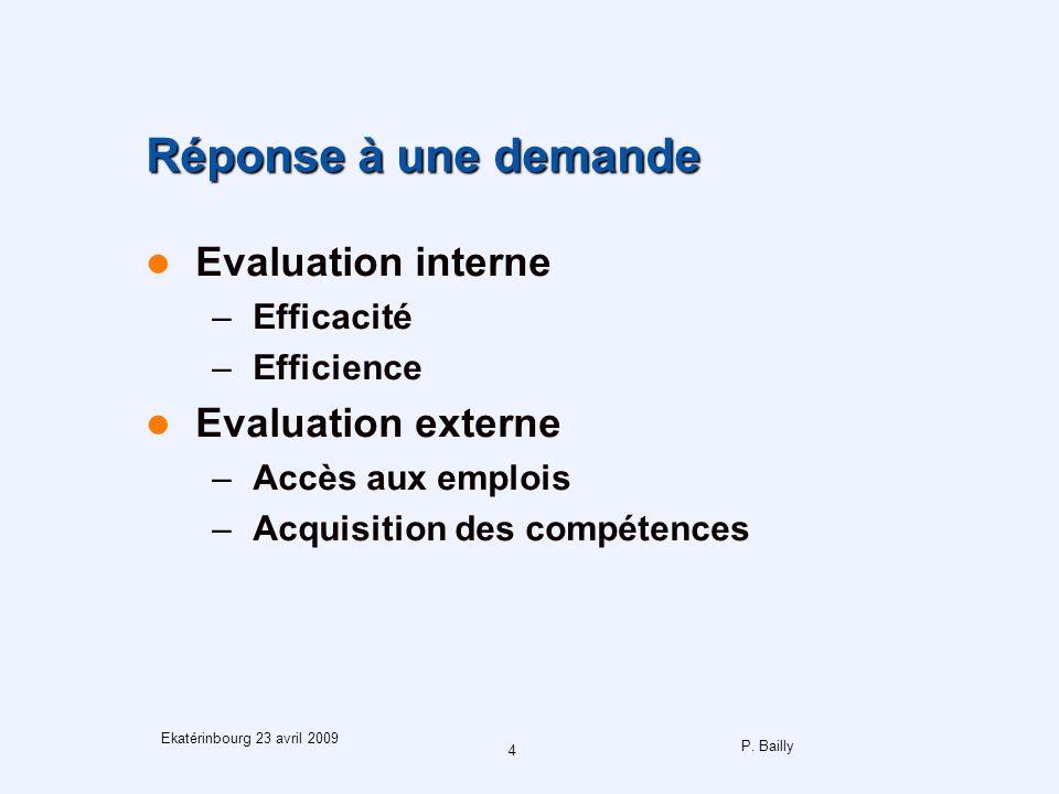 P. Bailly 4 Ekatérinbourg 23 avril 2009 Réponse à une demande Evaluation interne –Efficacité –Efficience Evaluation externe –Accès aux emplois –Acquis
