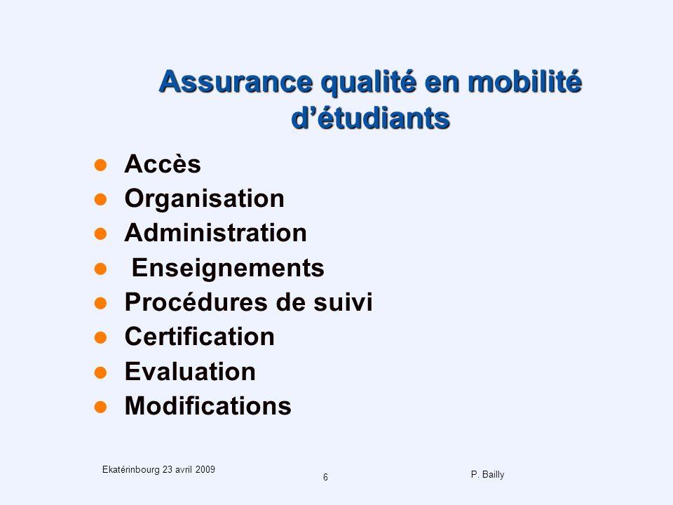 P. Bailly 6 Ekatérinbourg 23 avril 2009 Assurance qualité en mobilité détudiants Accès Organisation Administration Enseignements Procédures de suivi C