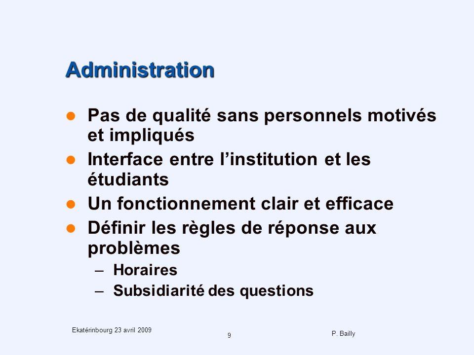 P. Bailly 9 Ekatérinbourg 23 avril 2009 Administration Pas de qualité sans personnels motivés et impliqués Interface entre linstitution et les étudian