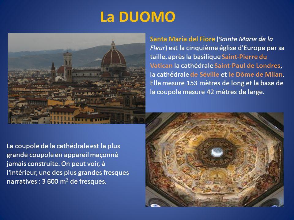 La DUOMO Santa Maria del Fiore (Sainte Marie de la Fleur) est la cinquième église d'Europe par sa taille, après la basilique Saint-Pierre du Vatican l