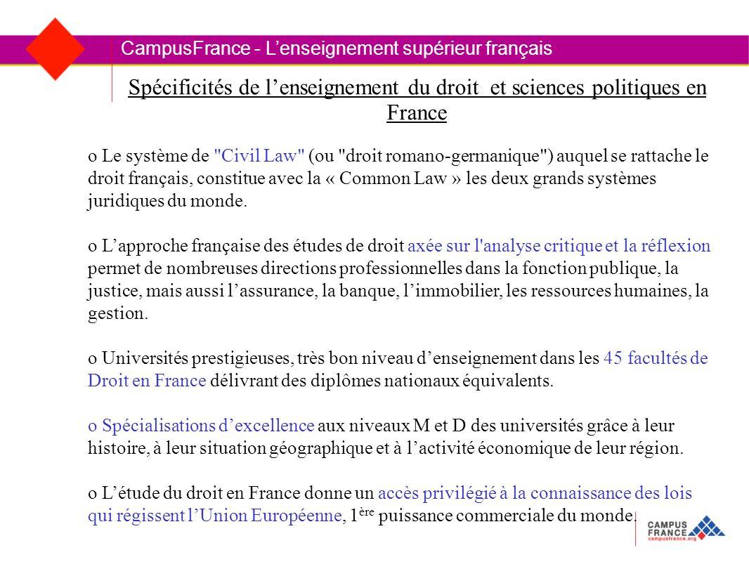 Spécificités de lenseignement du droit et sciences politiques en France CampusFrance - Lenseignement supérieur français o Le système de